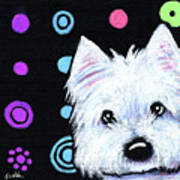 Kiniart Disco Westie Art Print