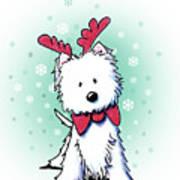 Kiniart Westie Reindeer Art Print