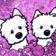 Kiniart Westies In Flowers Art Print