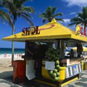 Kiosk On Ipanema Beach Print by George Oze