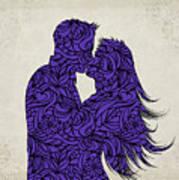Kissing Couple Silhouette Ultraviolet Art Print