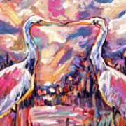 Kissing Egrets Never Forget Art Print