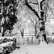 Kissing Gate In The Snow Art Print