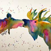 Kissing Moose Art Print