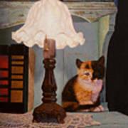 Kitten By The Lamp Art Print