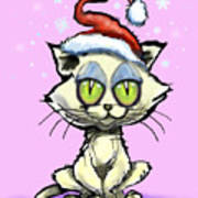 Kitten In Christmas Hat Art Print
