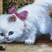 Kitten With Snail And Ball Art Print
