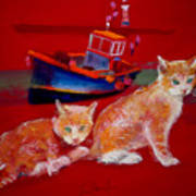 Kittens On The Beach Art Print
