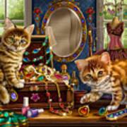 Kittens With Jewelry Box Art Print by Anne Wertheim
