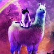 Kitty Cat Riding On Rainbow Llama In Space Art Print