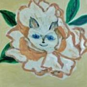 Kitty In The Magnolia Blossom Art Print by Marie Bulger