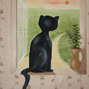 Kitty In The Window Art Print