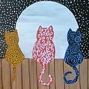 Kitty Moon Rise Art Print