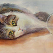 Kitty With Spilled Milk Art Print