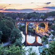 Knaresborough Viaduct Floodlit At Dusk Art Print