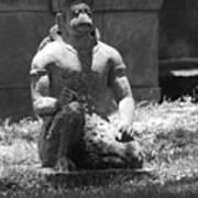 Kneeling Monkey In Black And White Art Print
