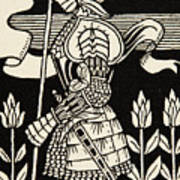 Knight Of Arthur, Preparing To Go Into Battle, Illustration From Le Morte D'arthur By Thomas Malory Art Print