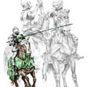 Knight Time - Renaissance Medieval Print Color Tinted Art Print