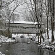 Knox Valley Forge Covered Bridge In Winter Art Print