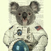 Koala In Space Illustration Art Print