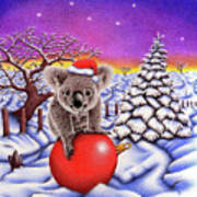 Koala On Christmas Ball Art Print