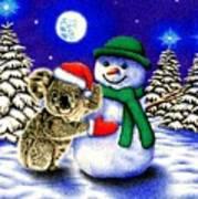 Koala With Snowman Art Print