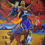 Kobe Defeating The Demons Art Print by Luis Antonio Vargas