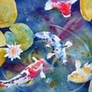 Koi And Waterlily Flower Art Print