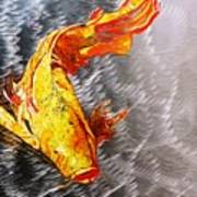 Koi Fish Aluminum Print, Unique Gift For Any Home Or Office. 'the Silver Koi'. Art Print