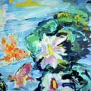 Koi Fish And Water Lilies Art Print
