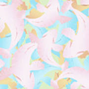 Koi Fish Powder Pink - Blue Art Print