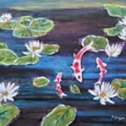 Koi In Lilly Pond Art Print