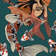 Koi Mermaid 2/4 Art Print