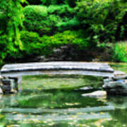 Koi Pond Bridge - Japanese Garden Art Print