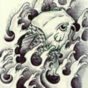 Koi Through The Water Art Print