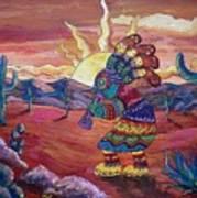 Kokopelli Sunset Art Print