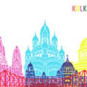 Kolkata Skyline Pop Art Print