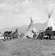 Kootenai First Nations Camp, C.1920-30s Art Print