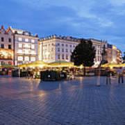 Krakow Main Square By Night Art Print