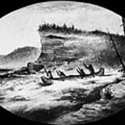 Krieghoff: Canoe On Rapids Art Print