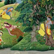 Krishna Fluting The The Milkmaids Art Print