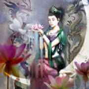 Kuan Yin Lotus Of Healing Print by Stephen Lucas