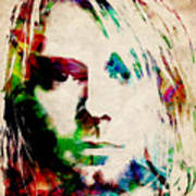 Kurt Cobain Urban Watercolor Art Print by Michael Tompsett