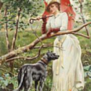 Kvinna Med Parasoll  Art Print