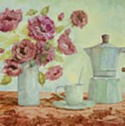 La Caffettiera E I Fiori Amaranto Art Print
