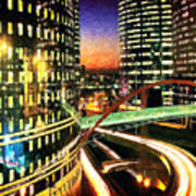 La Defense By Night - Paris Art Print