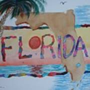 La Florida Flowered Land Art Print
