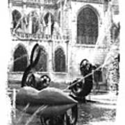 La Fontaine Stravinski In Black And White Art Print