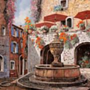 la fontana a St Paul de Vence Art Print by Guido Borelli