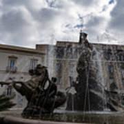 La Fontana Di Diana - Fountain Of Diana Silver Jets And Sky Drama Art Print